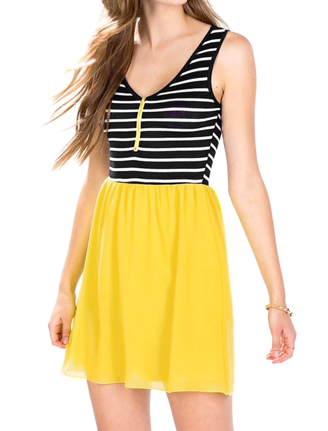 Women Sleeveless Zipper Front Stripes Paneled A Line Dress Yellow L
