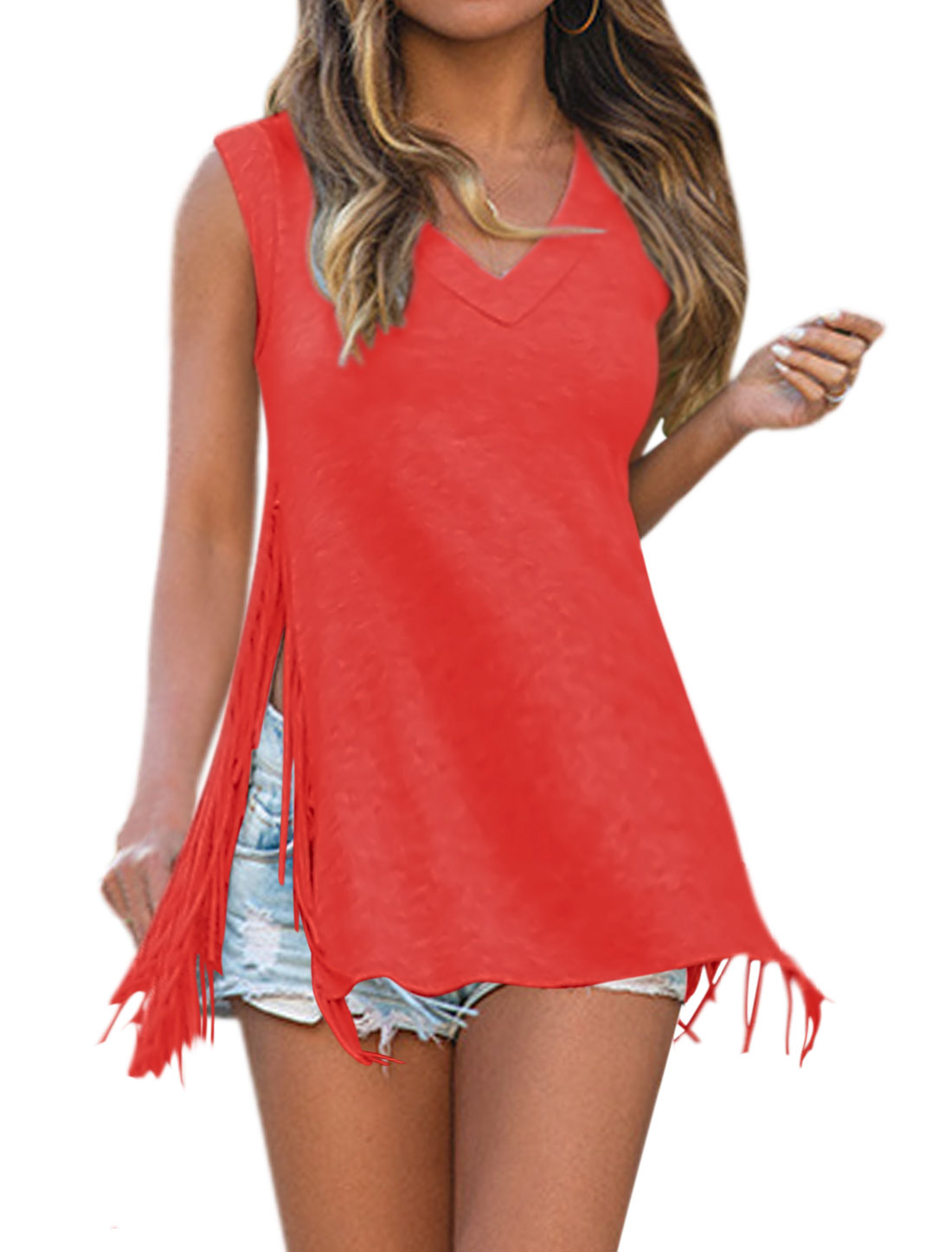 Women Split Side V Neck Tassel Sleeveless Loose Tunic Top Red M