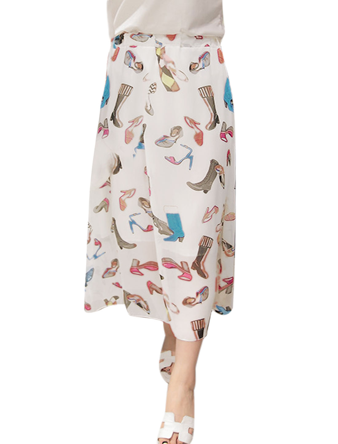 Women High-heel Shoes Prints Elastic Waist Chiffon Skirt White XS