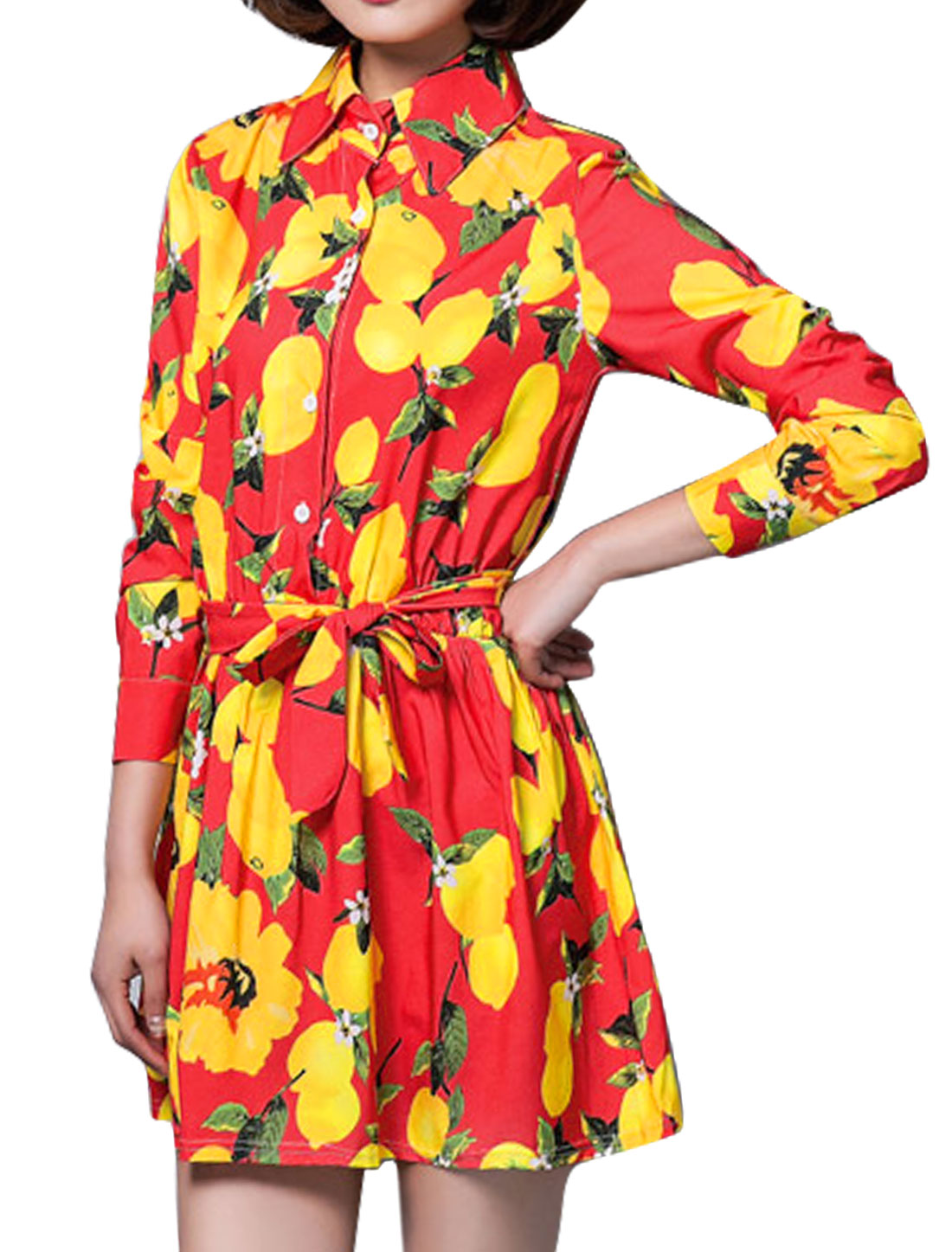 Women Lemon Prints Long Sleeves Belted Shirt Dress Red M