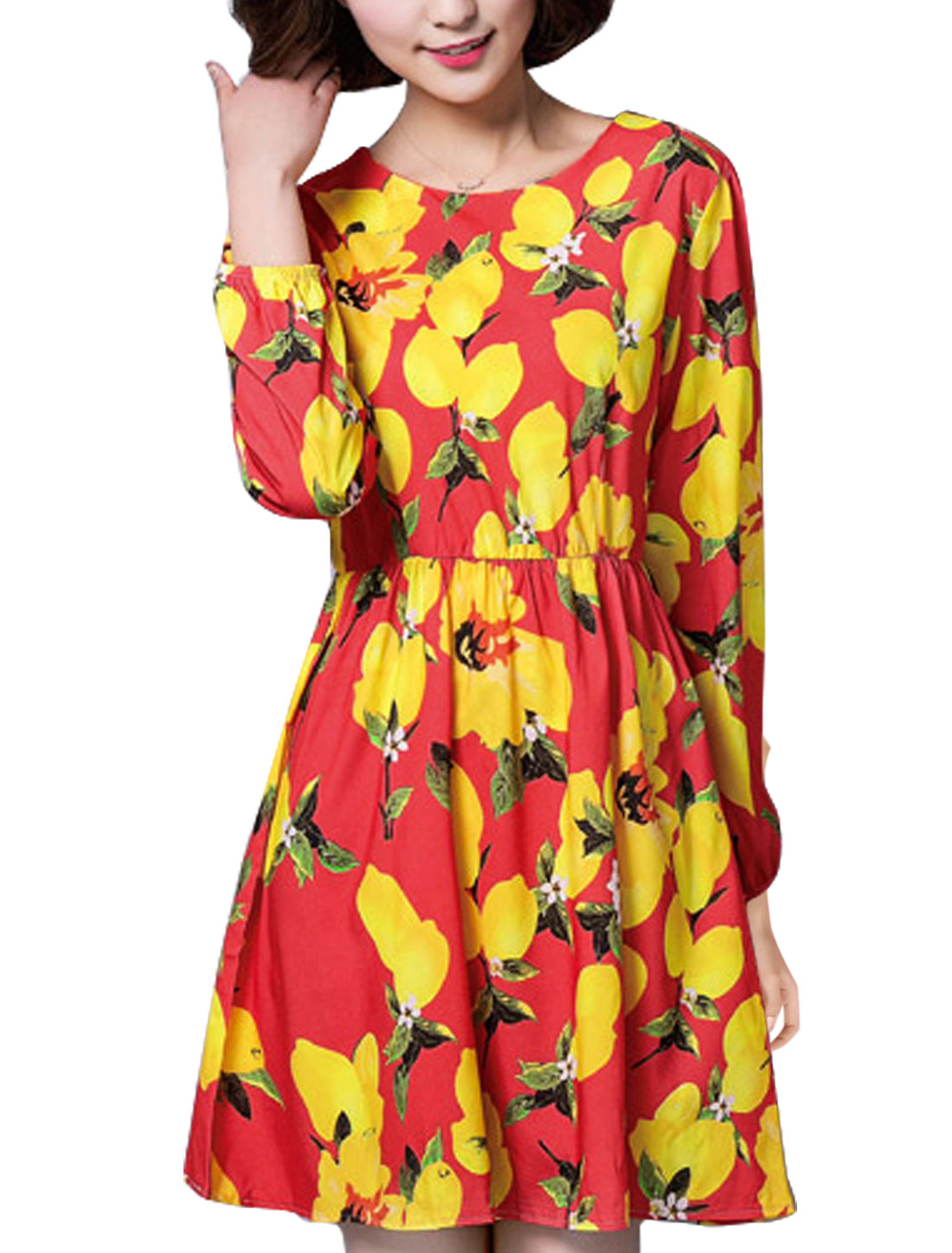 Women Lemon Prints Round Neck Long Sleeves A Line Dress Red S