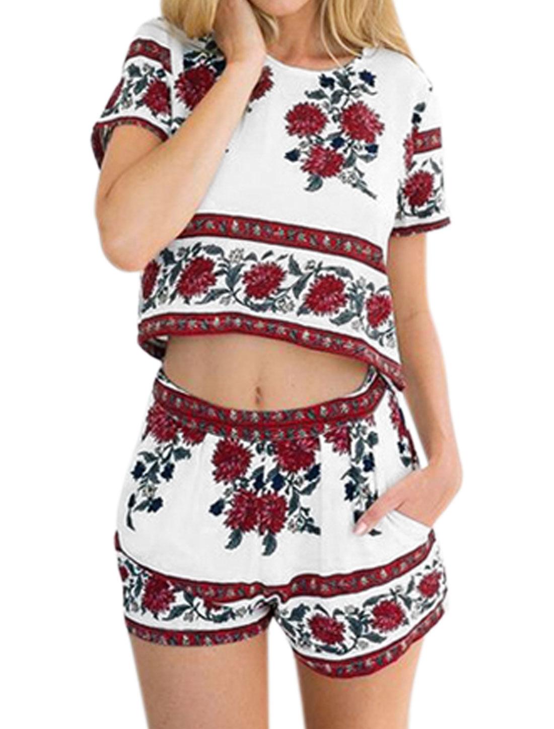 Women Floral Prints Short Sleeve Crop Top w Elastic Waist Pockets Shorts Set White M