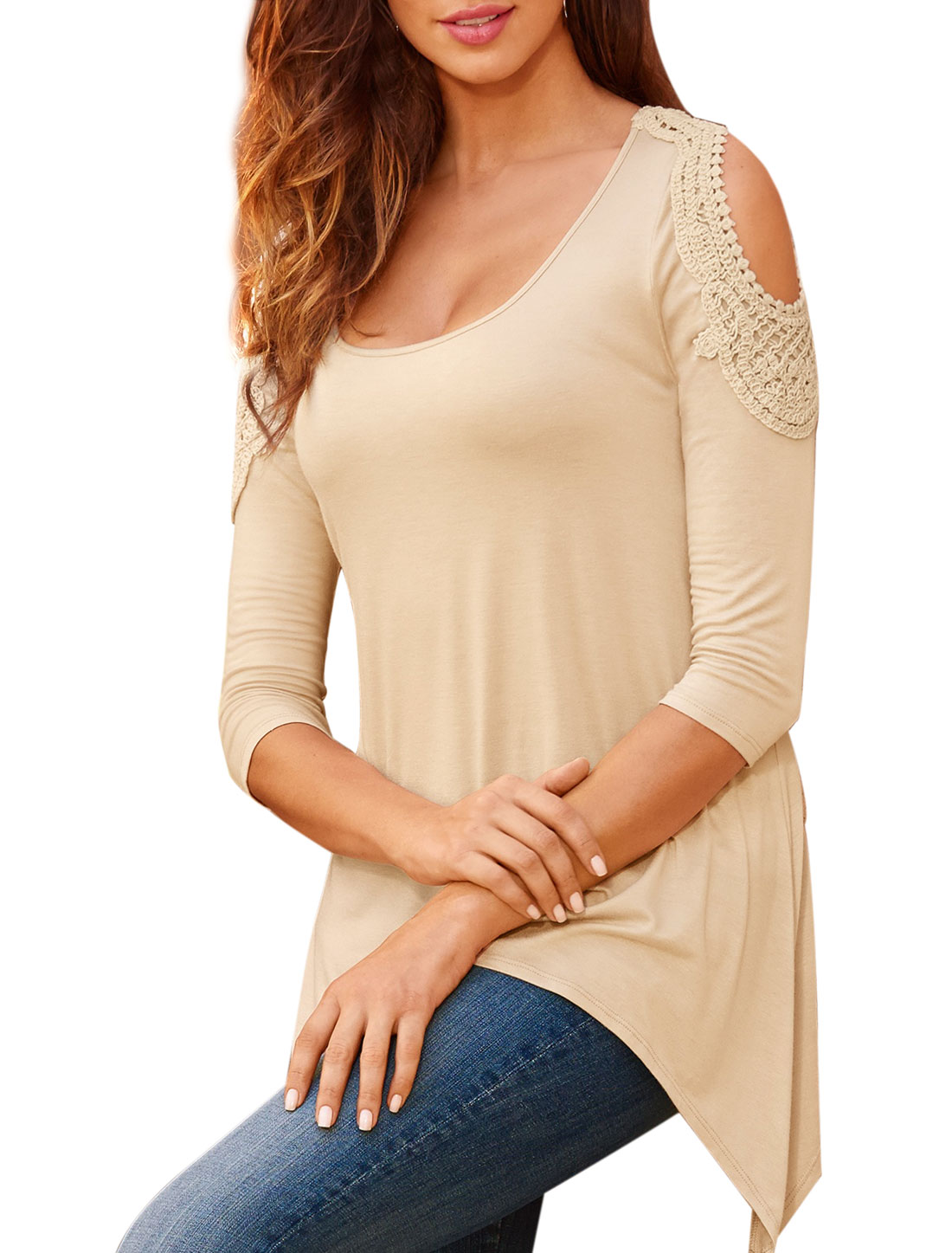 Women Scoop Neck 3/4 Sleeves Cut Out Shoulder Tunic Top Beige M
