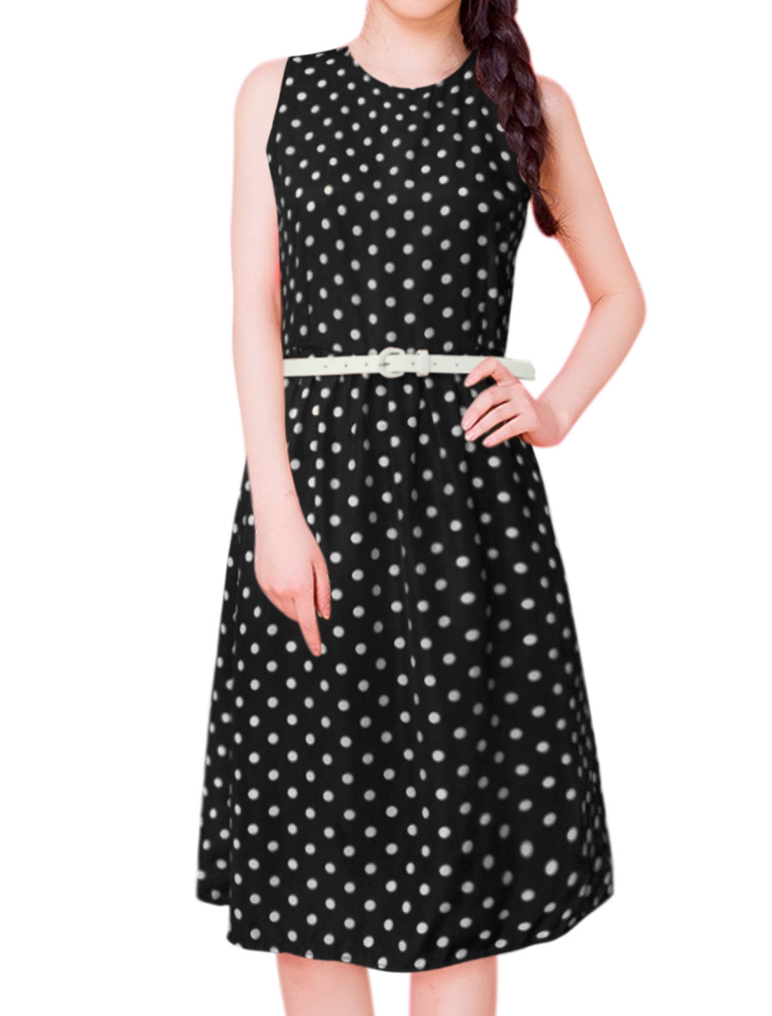 Women Polka Dots Print Sleeveless Belted A Line Dress Black M