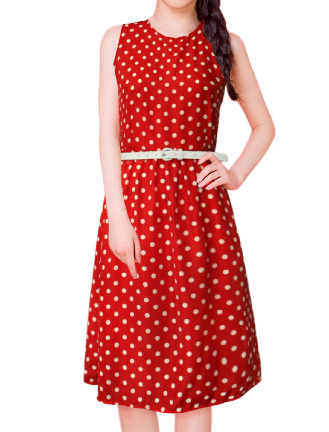 Women Polka Dots Print Sleeveless Belted A Line Dress Red M