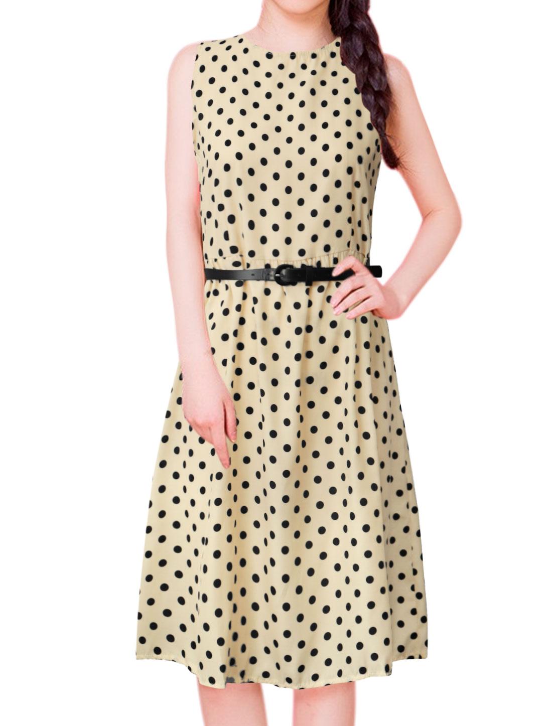 Women Polka Dots Print Sleeveless Belted A Line Dress Beige M