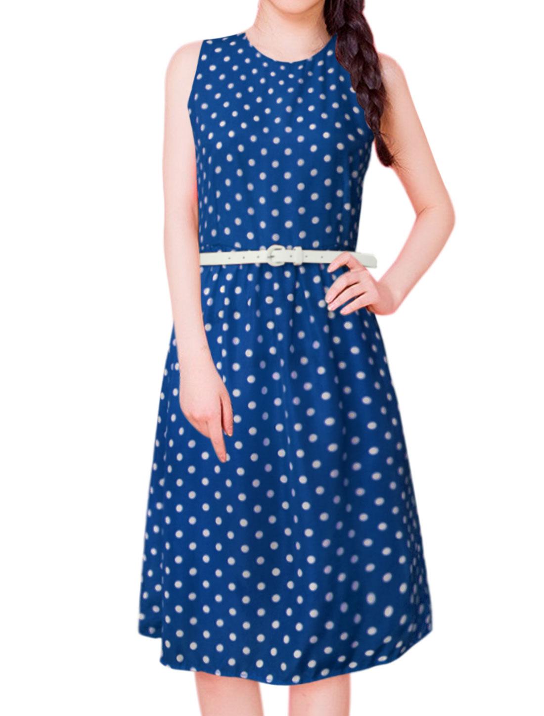 Women Polka Dots Print Sleeveless Belted A Line Dress Blue M