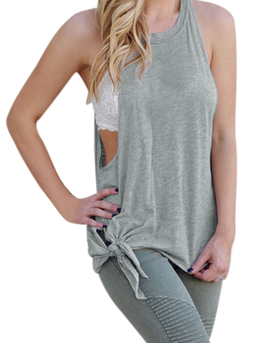 Women Round Neck Split Knot Side Sleeveless Loose Tank Top Gray S