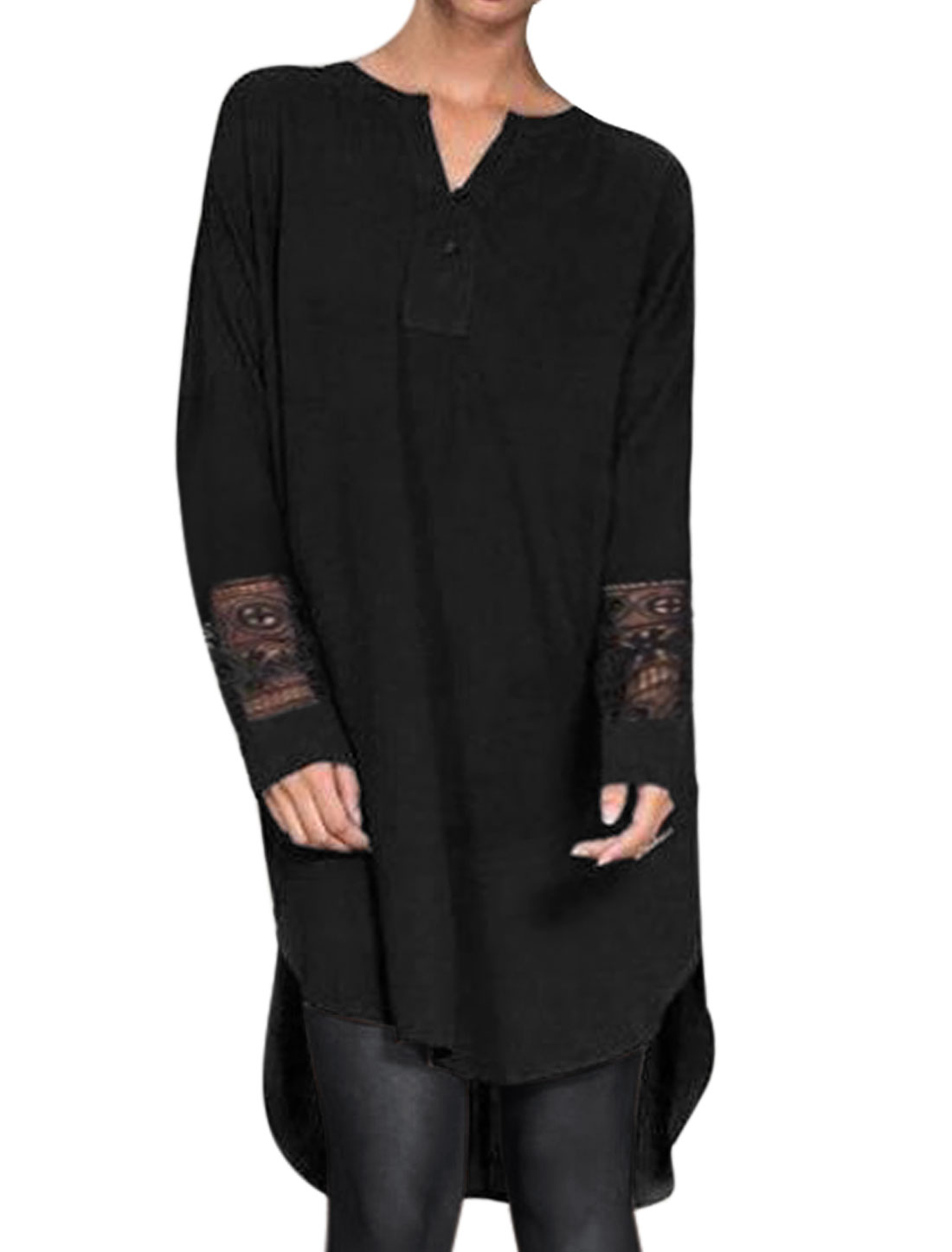 Women Split Neck Crochet Panel High Low Hem Tunic Blouse Black S