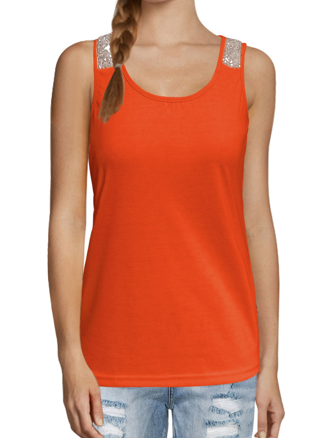 Women Scoop Neckline Sequin Embellished Tank Top Orange M
