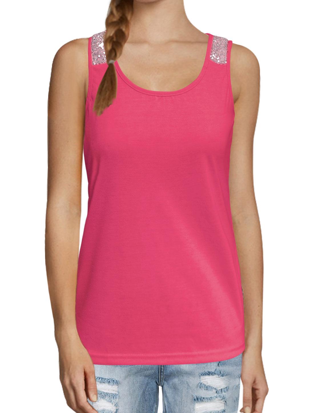 Women Scoop Neckline Sequin Embellished Tank Top Pink M