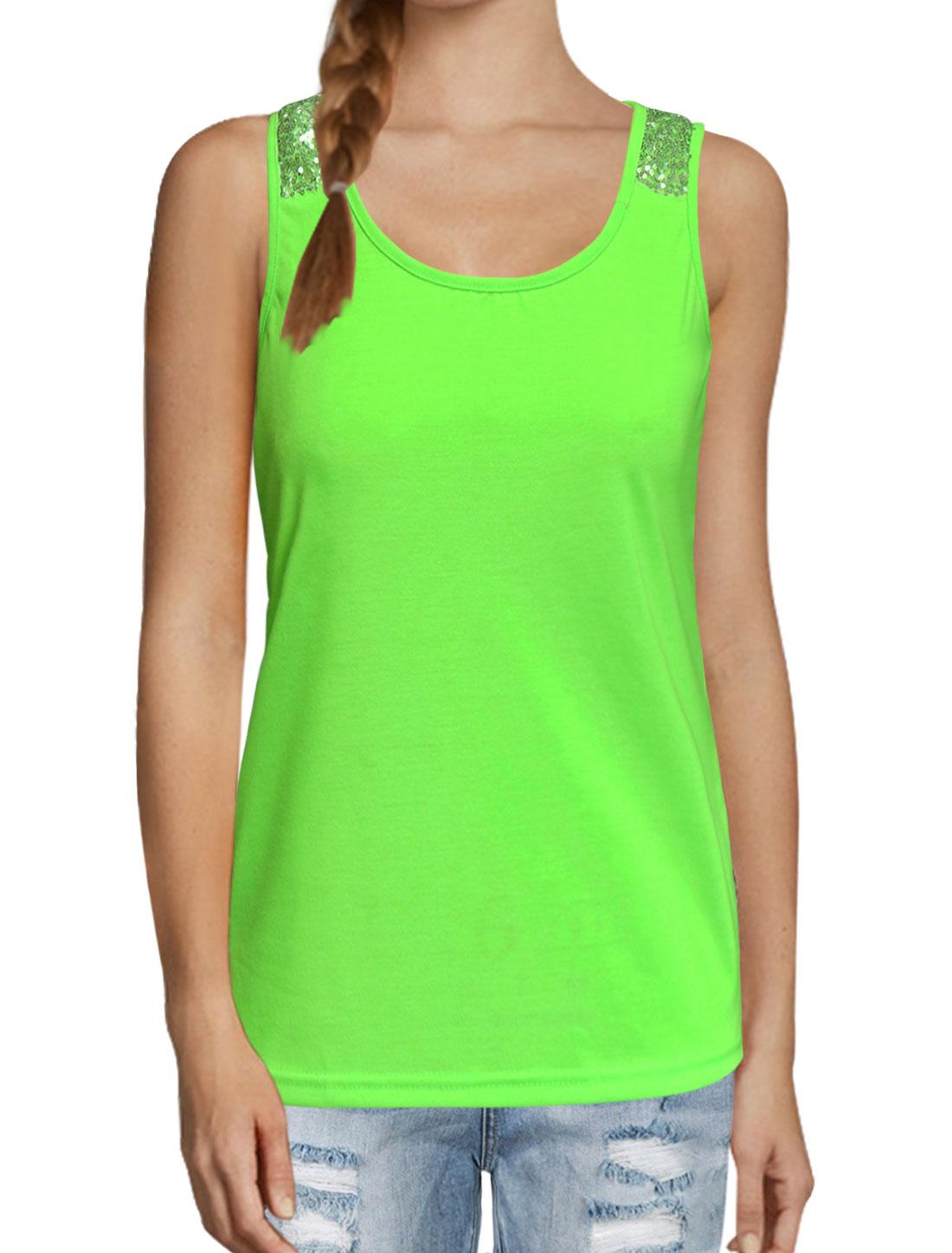 Women Scoop Neckline Sequin Embellished Tank Top Green M
