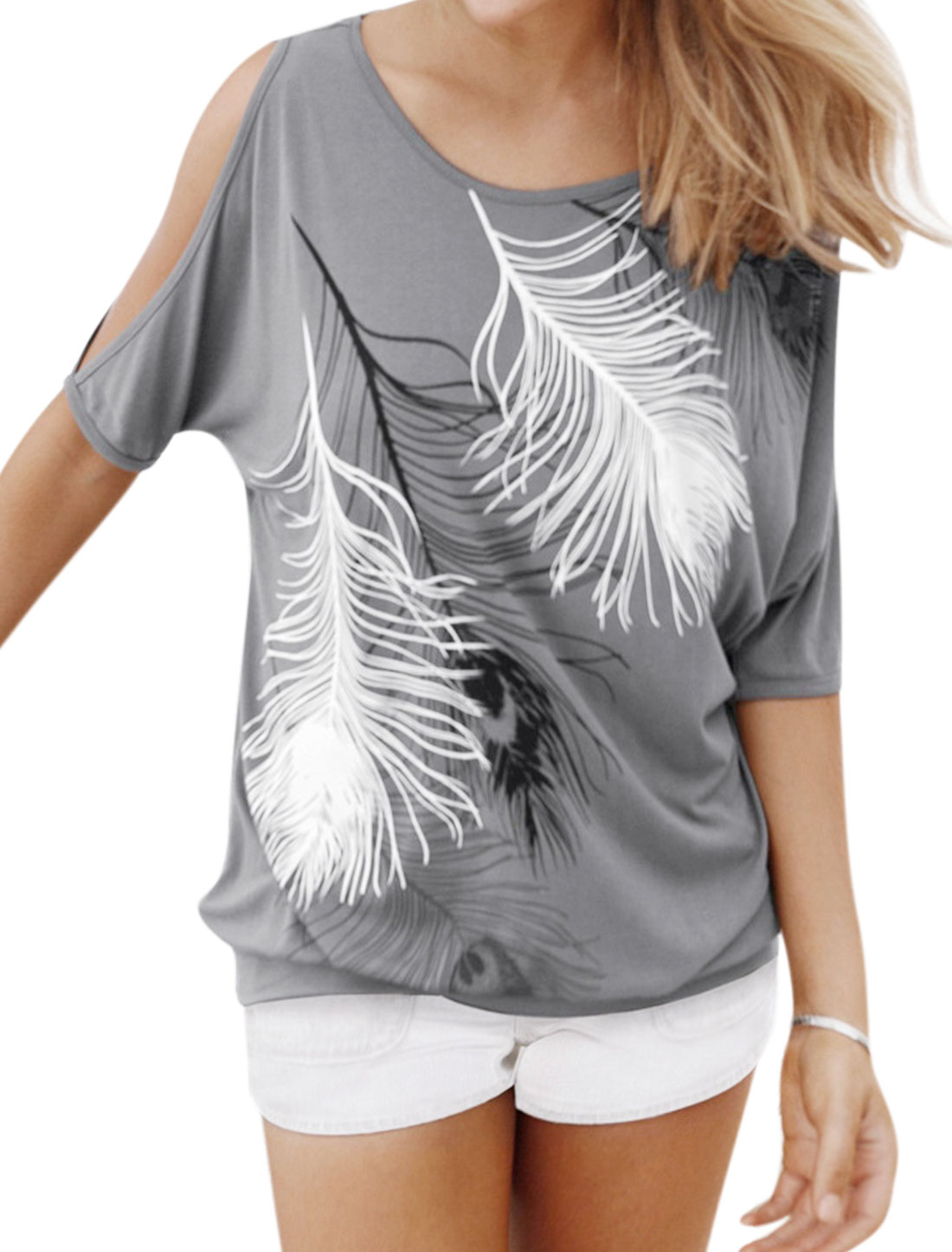 Women Split Out Batwing Sleeve Feather Prints Blouse Gray M
