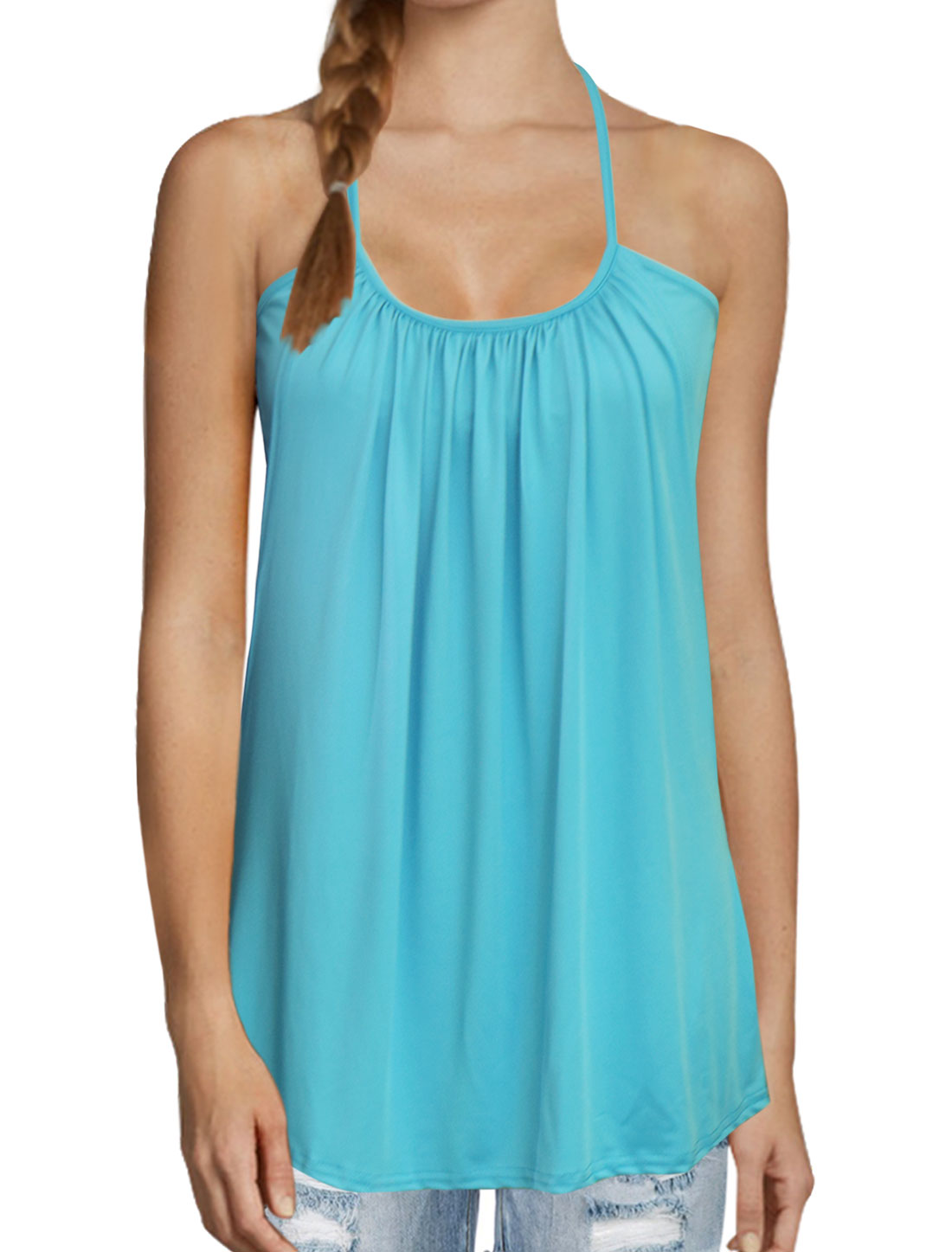 Women Scoop Neck Sleeveless Ruched Layered Cami Top Blue L