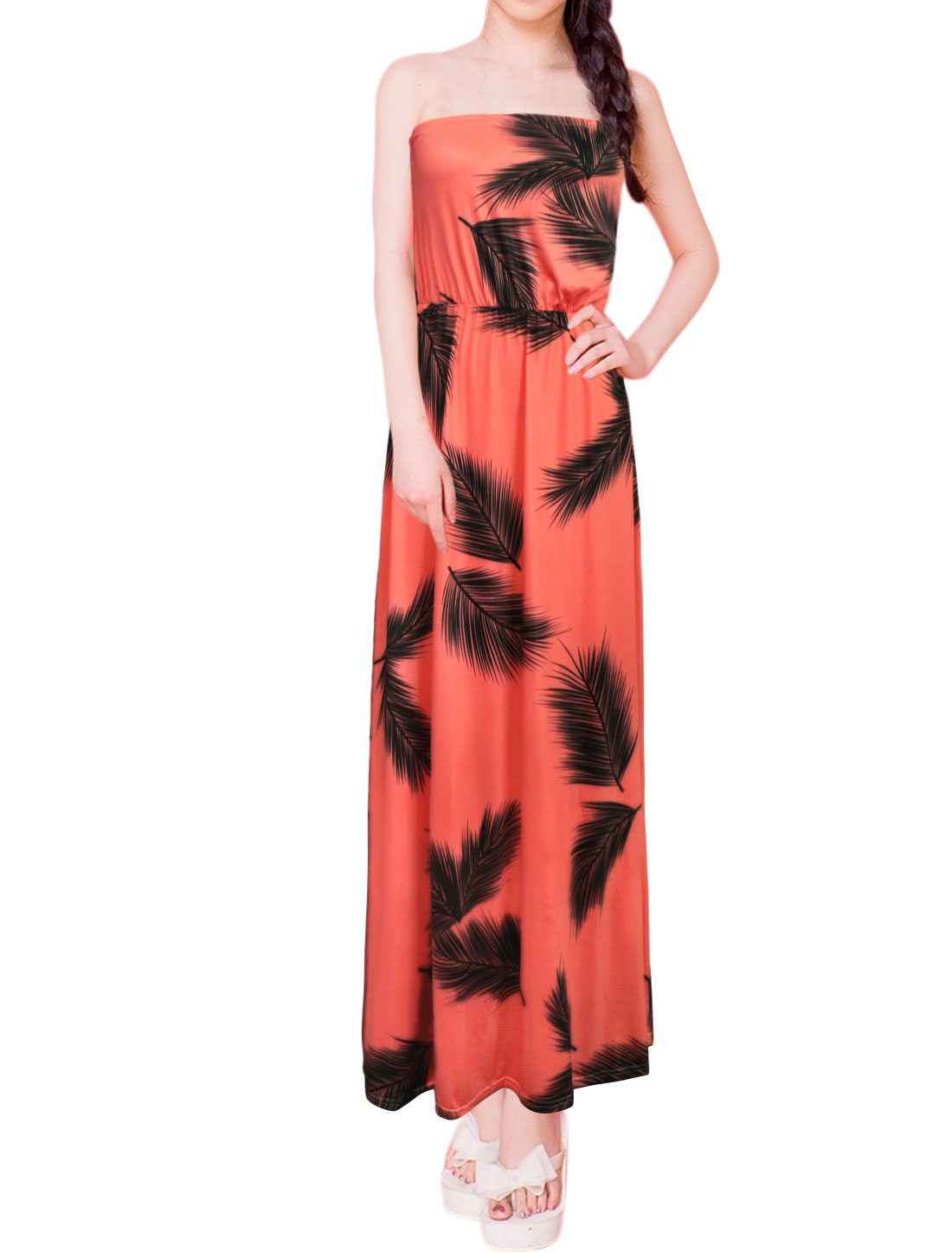 Women Off Shoulder Feather Prints Full-Length Strapless Dress Pink M