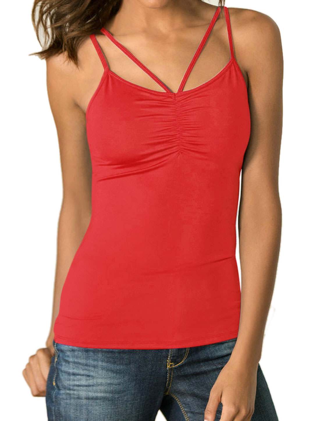 Women Strappy Pure Ruched Upper Stretchy Cami Top Red L