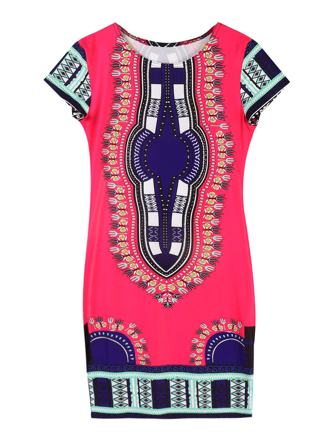 Women Floral Novelty Prints Short Sleeve Sheath T-Shirt Dress Pink M