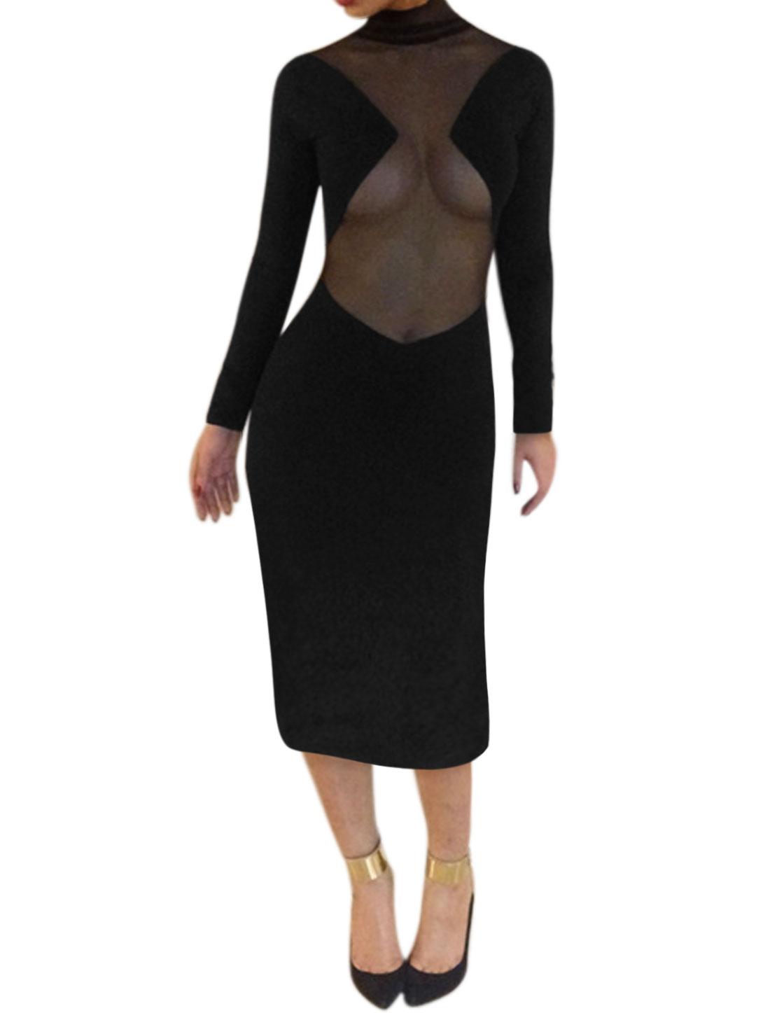 Women Mock Neck Mesh Panel Long Sleeve Semi Sheer Midi Dress Black L