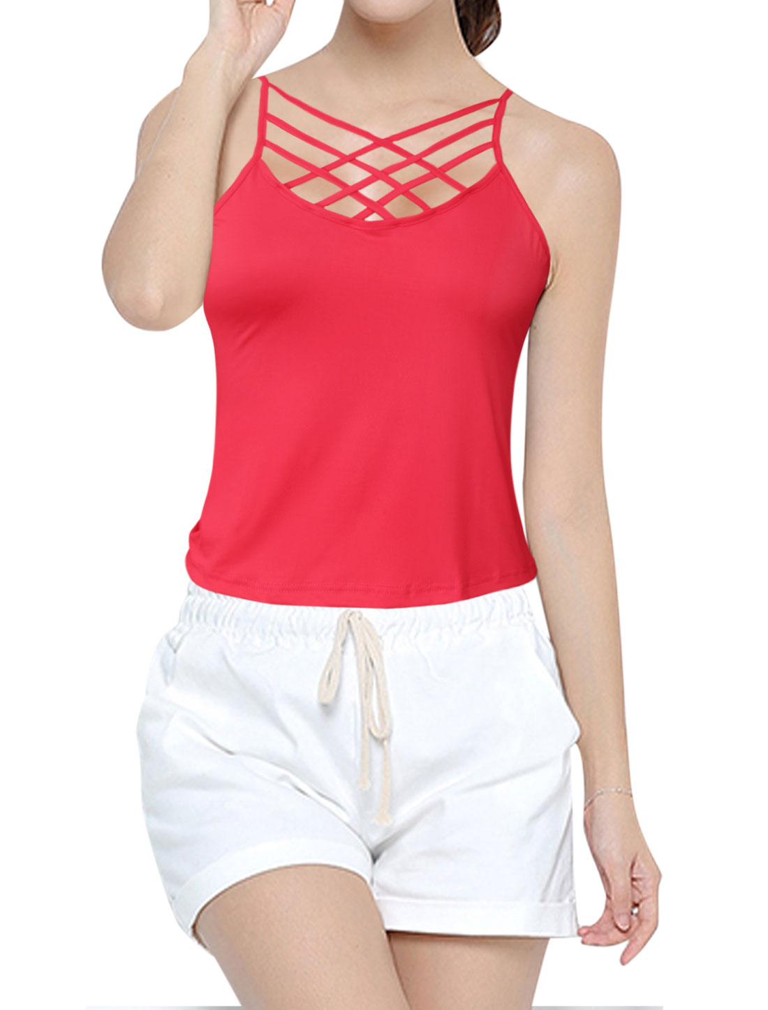 Women Strappy Front Sleeveless Cami Top Red L