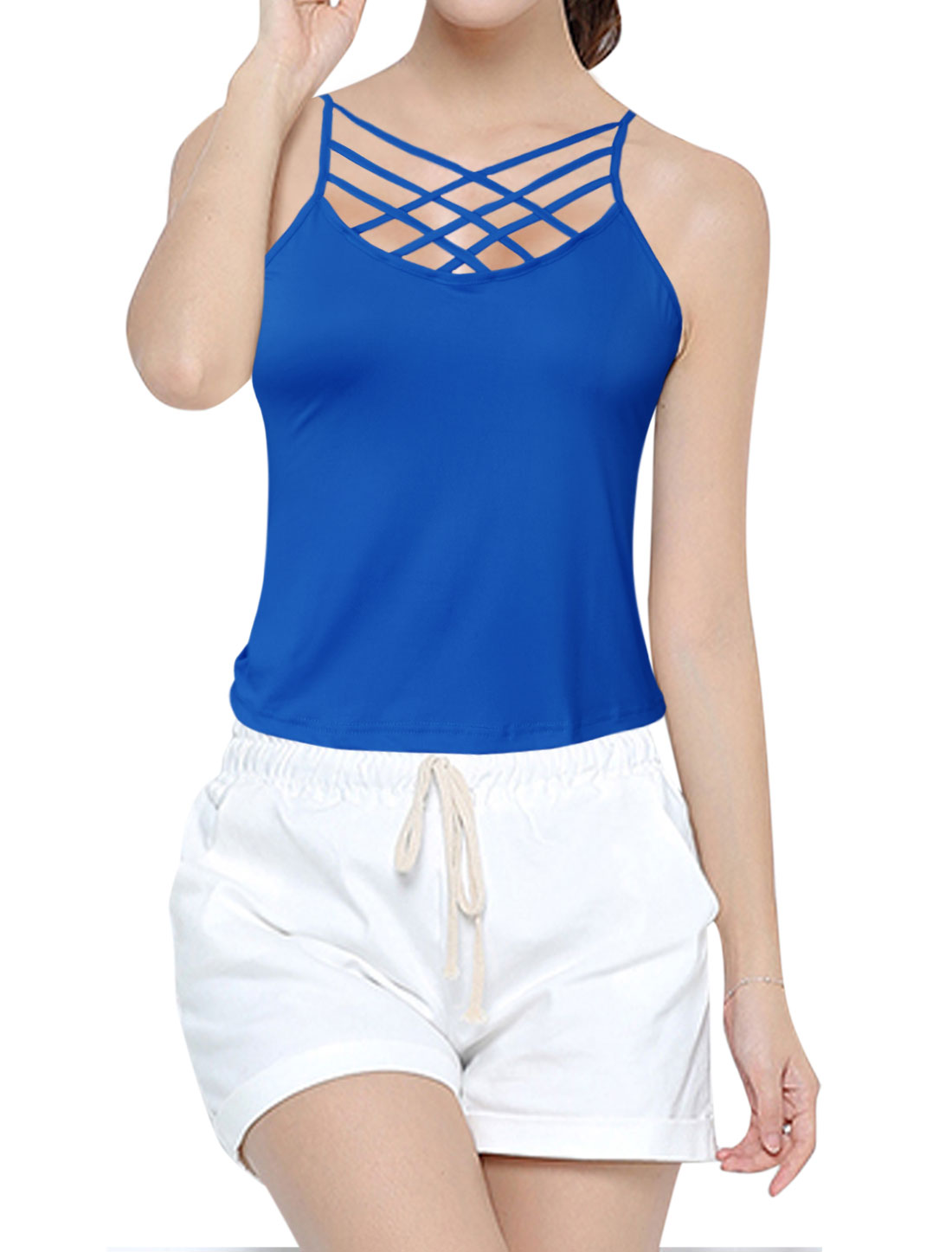 Women Strappy Front Sleeveless Cami Top Blue L