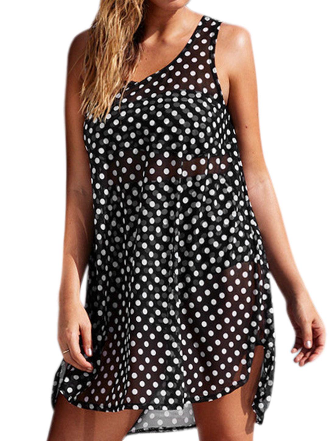 Women Dots Sleeveless Semi Sheer Chiffon Tunic Dress Black M