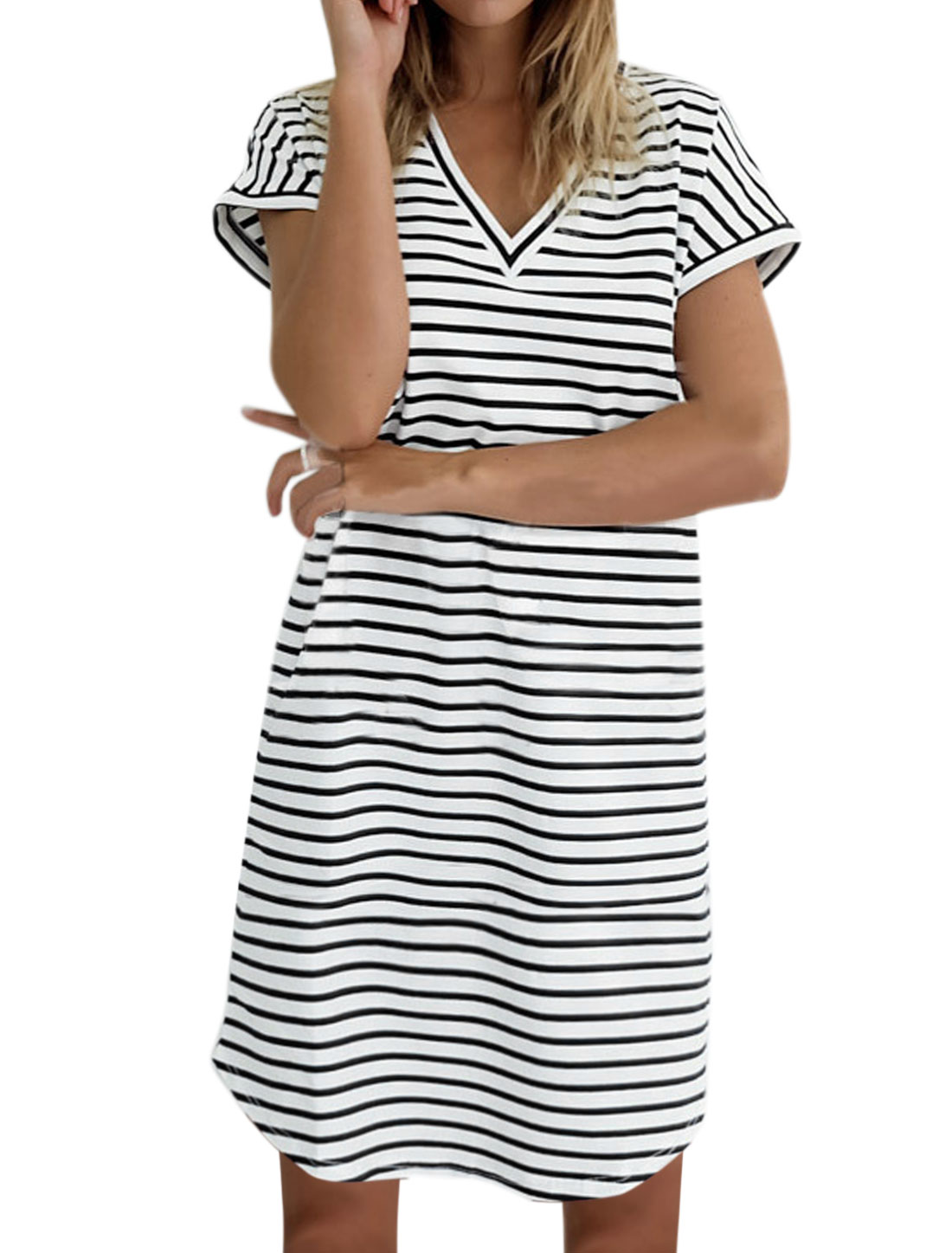 Women Batwing Sleeve Stripes V Neck Loose T-Shirt Dress White M