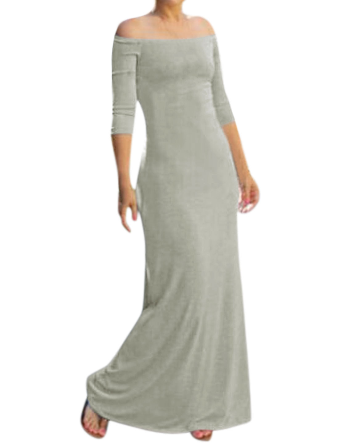 Women Off Shoulder 3/4 Sleeve Full Length Sheath Dress Gray M