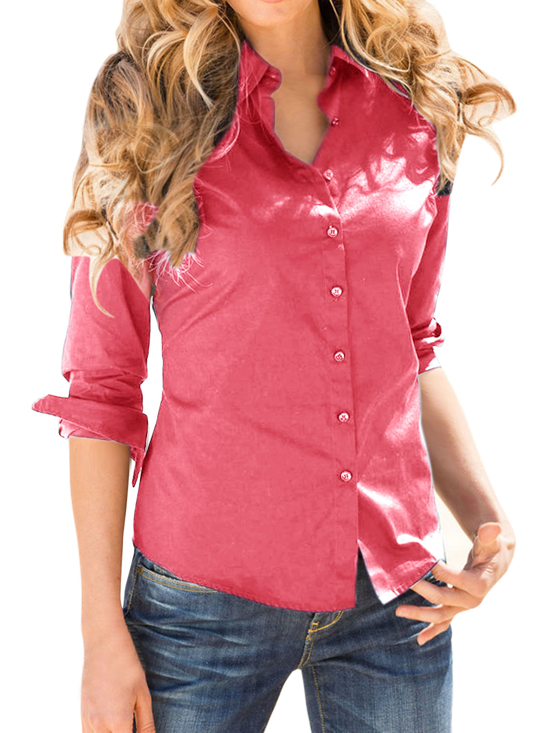 Women Point Collar Long Sleeves Single Breasted Shirt Red L
