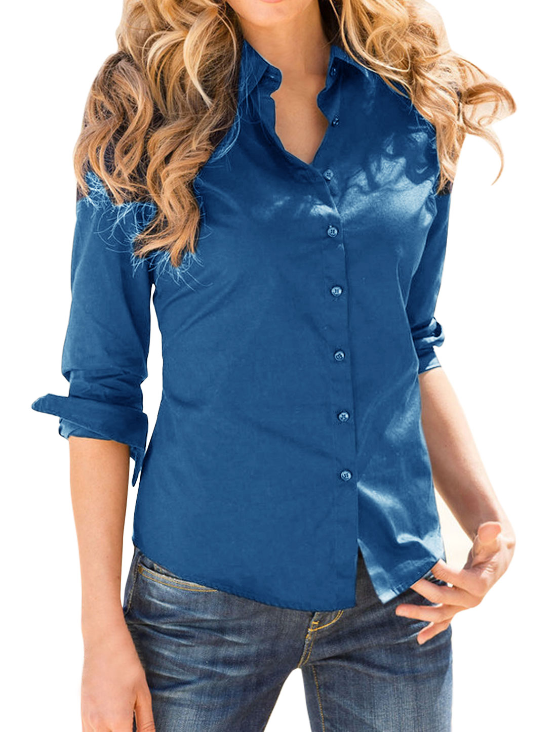 Women Point Collar Long Sleeves Single Breasted Shirt Blue L