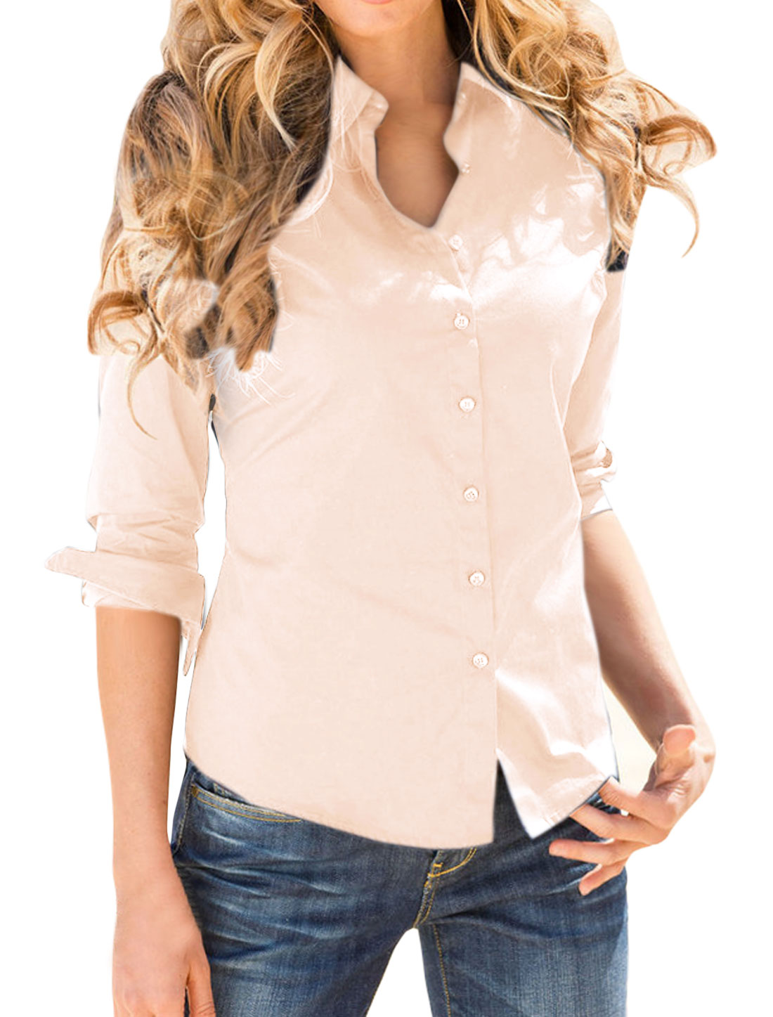 Women Point Collar Long Sleeves Single Breasted Shirt Pink L