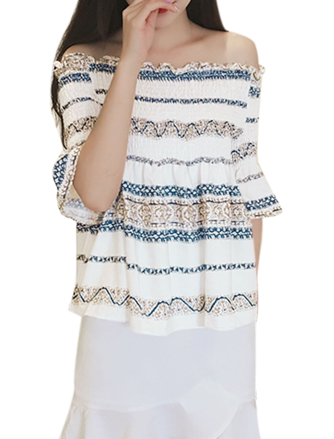 Women Stripes Design Smocked Upper Bell Sleeves Top White XS