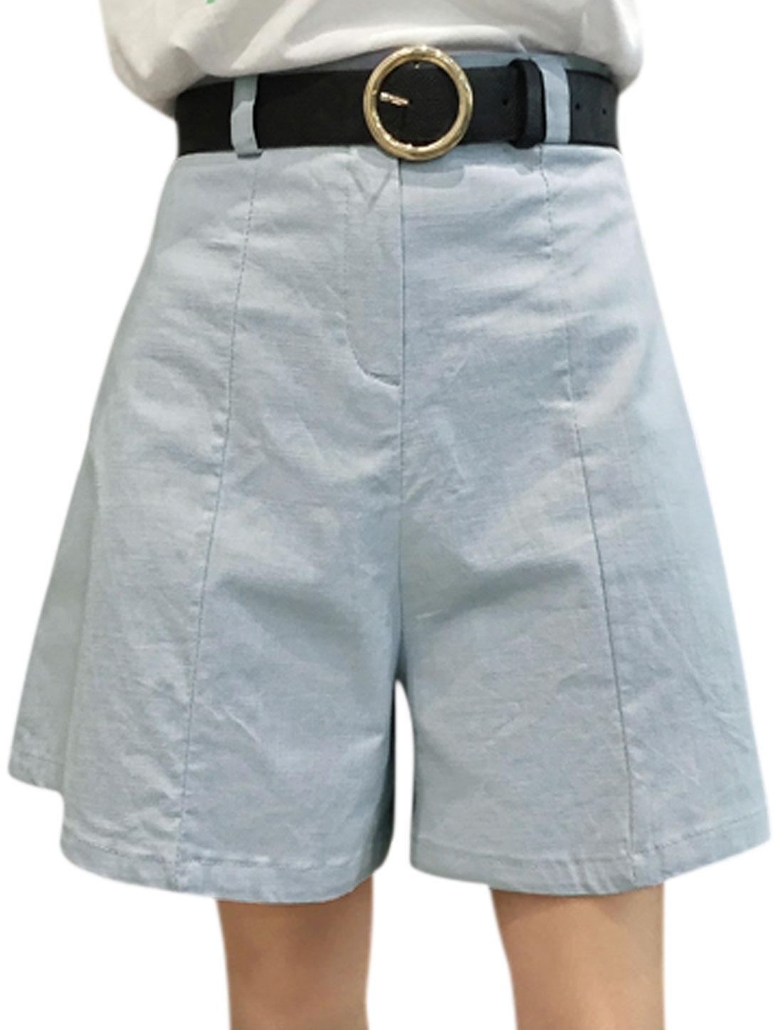 Women Belt Loops High Waist Zip Fly A Line Wide Leg Shorts Blue M