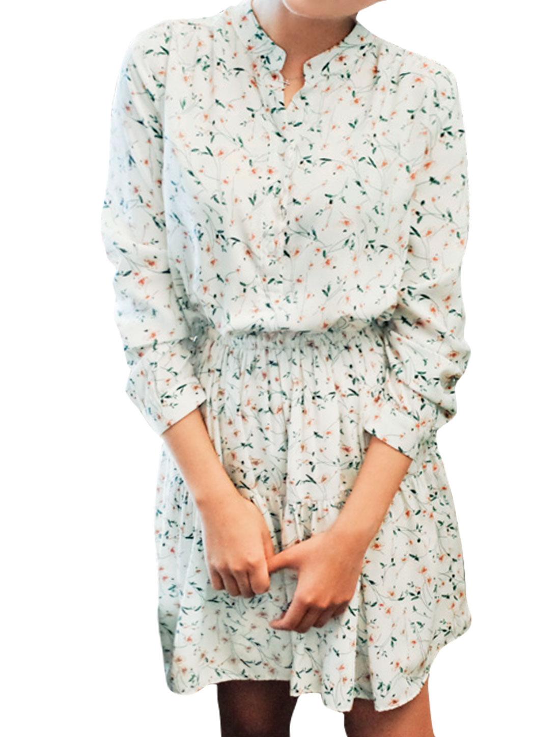 Women Floral Prints Elastic Waist Long Sleeves Shirt Dress White S
