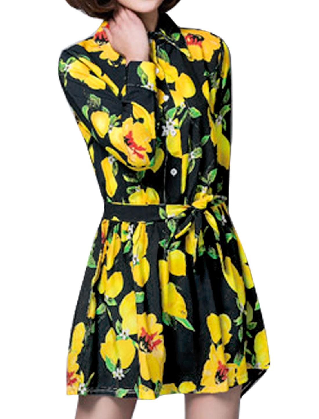 Women Lemon Prints Long Sleeves Belted Shirt Dress Black M