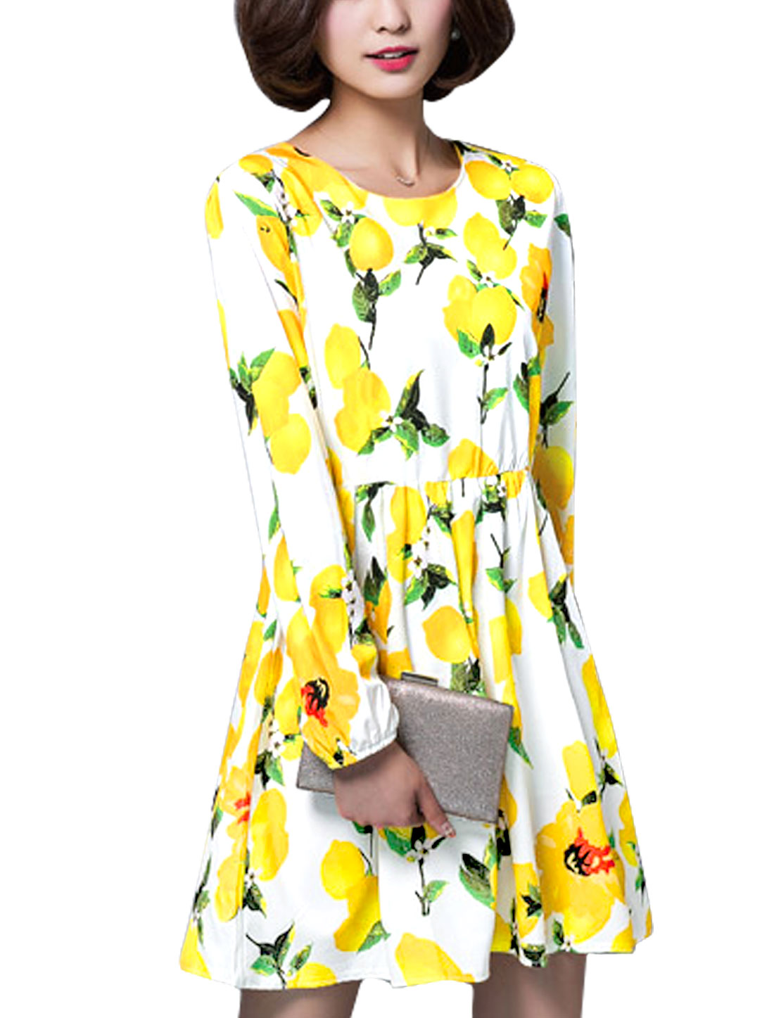 Women Lemon Prints Round Neck Long Sleeves A Line Dress White S