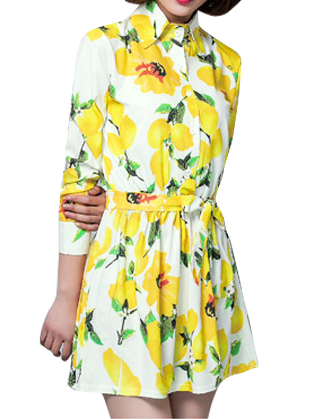 Women Lemon Prints Long Sleeves Belted Shirt Dress White M