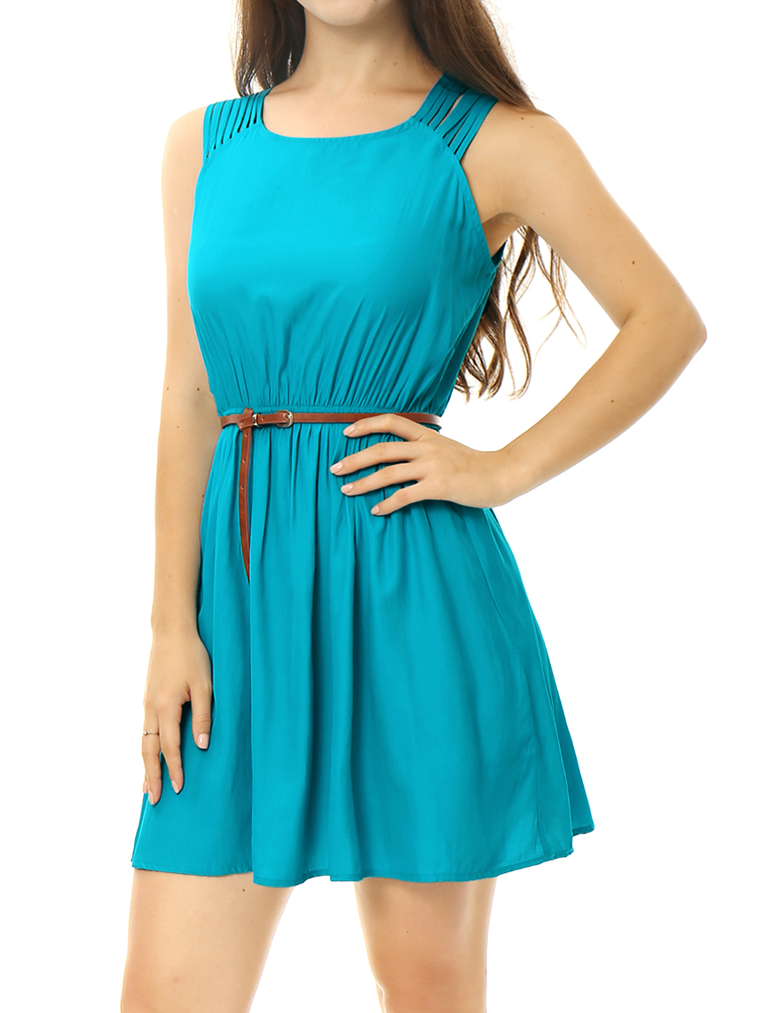 Women Strappy Shoulders Sleeveless Belted A Line Dress Blue XS