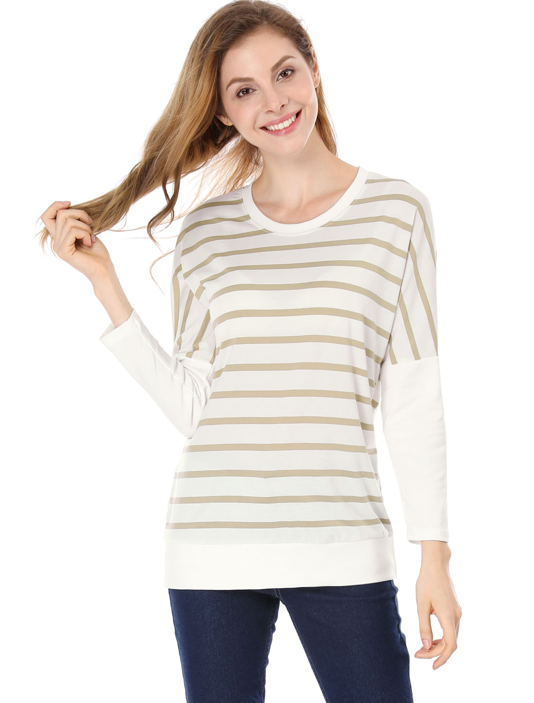 Women Dolman Sleeves Paneled Stripes Loose Tunic Top Brown S