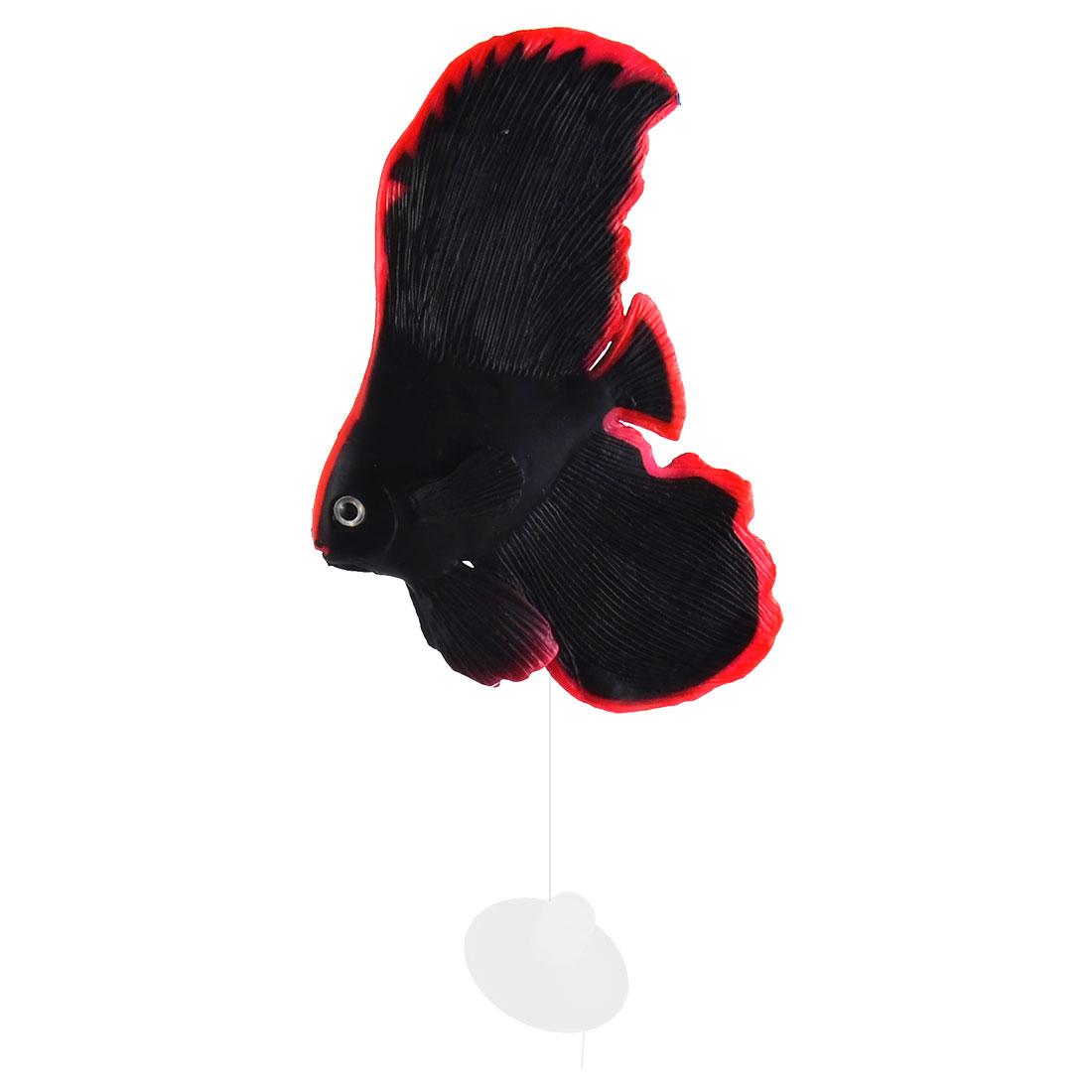 Aquarium Silicone Artificial Emulation Glowing Tropical Sea Fish Ornament Black
