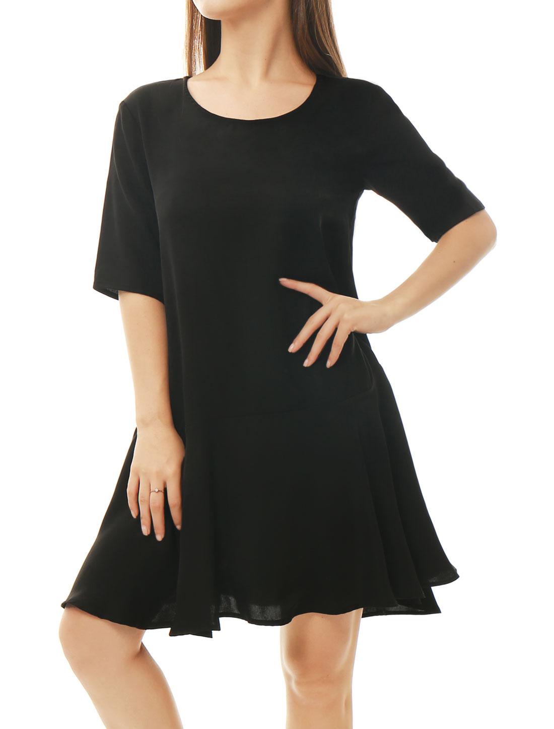 Women Half Sleeves Flouncing Hem Loose Mini Dress Black XS