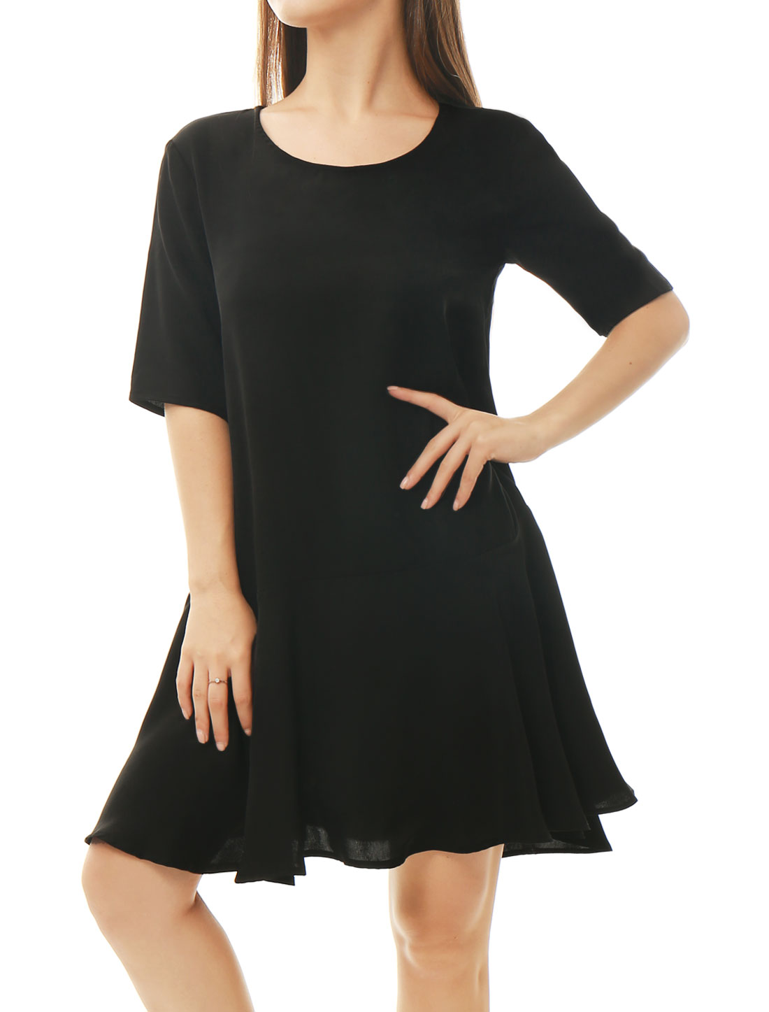 Women Half Sleeves Flouncing Hem Loose Mini Dress Black L