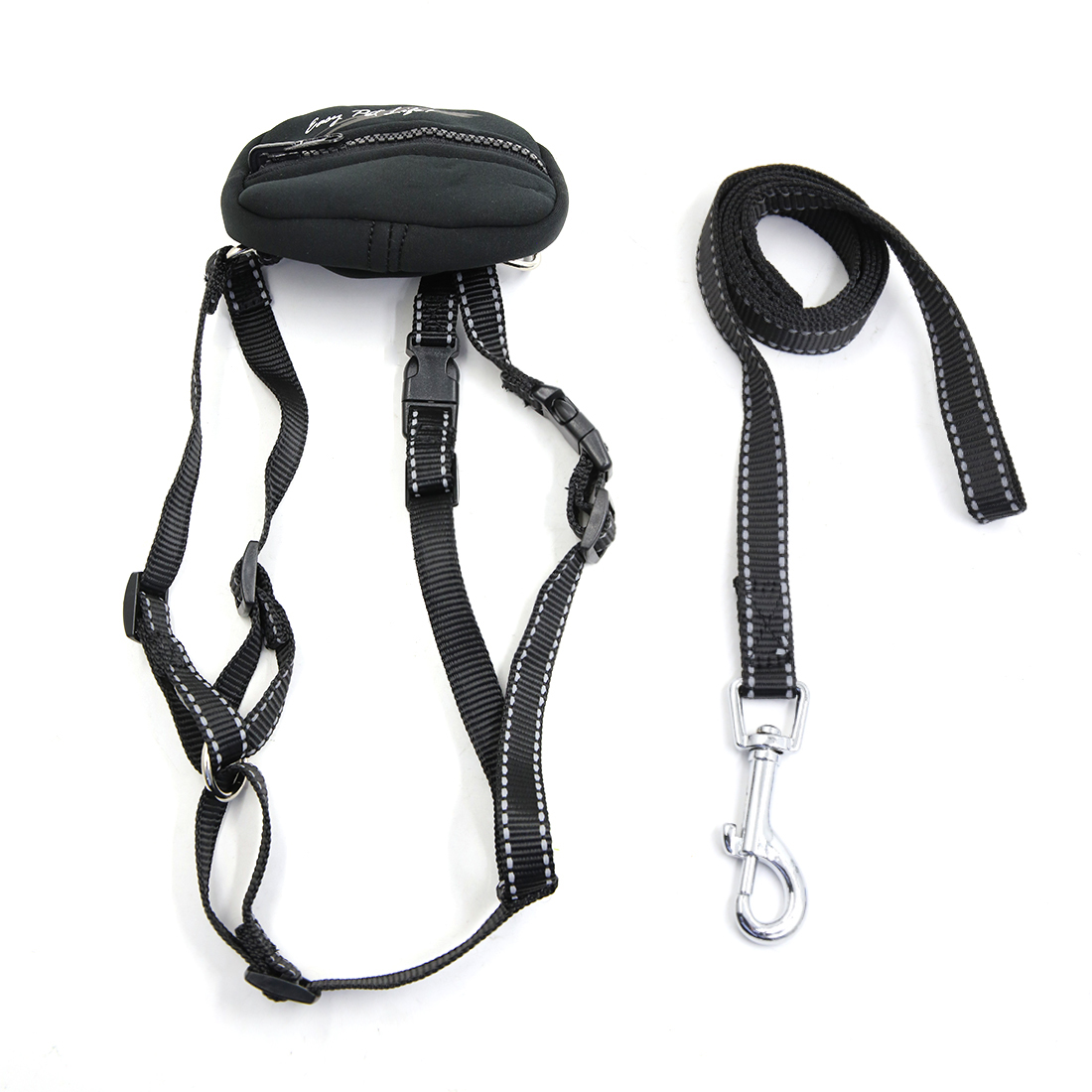 Safe Reflective Dog Harness Leash Adjustable Nylon Collar For Walking with Storage Bag Black S