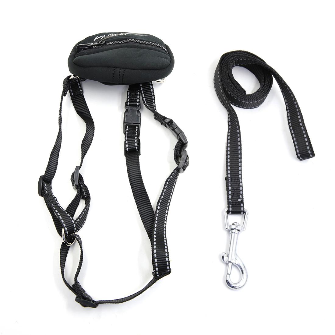 Safe Reflective Dog Harness Leash Adjustable Nylon Collar For Walking with Storage Bag Black L