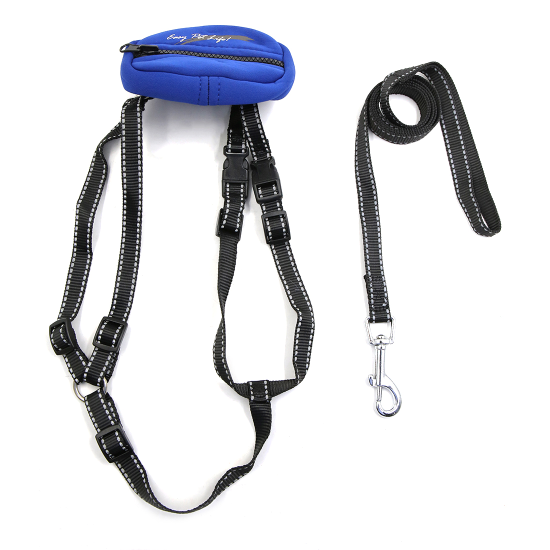 Safe Reflective Dog Harness Leash Adjustable Nylon Collar For Walking with Storage Bag Blue L