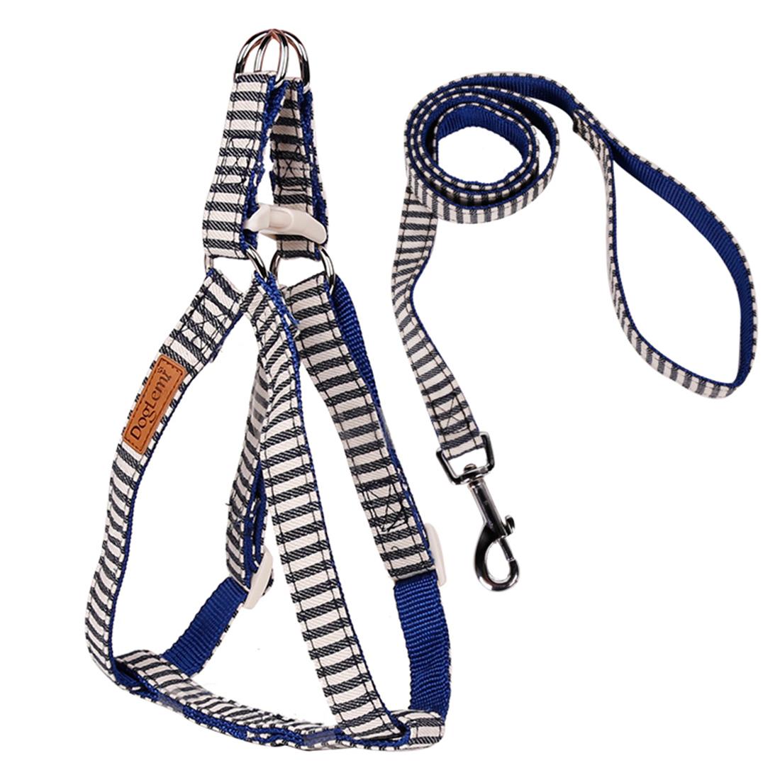 Adjustable Nylon Navy Stripe Dog Harness Leash Set Walking Leads Safe Control Collar Rope Blue M
