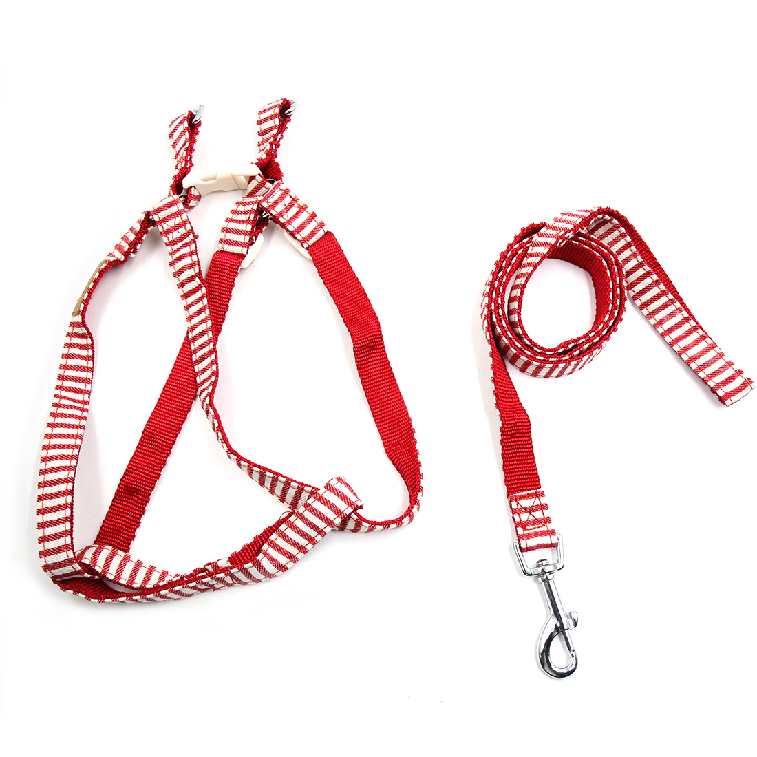 Adjustable Nylon Navy Stripe Dog Harness Leash Set Walking Leads Safe Control Collar Rope Red S