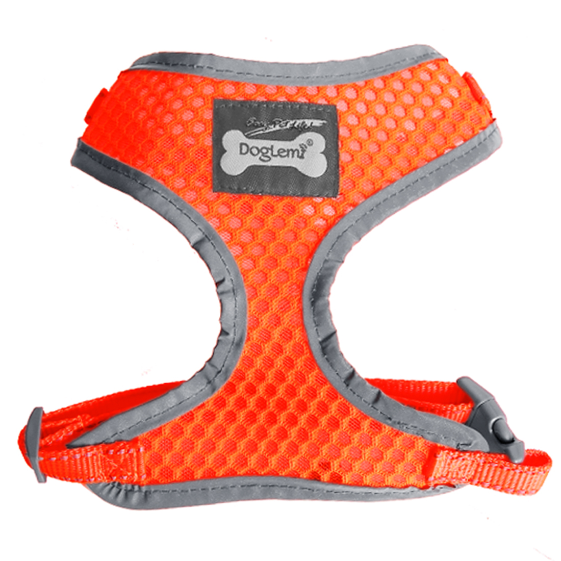 Comfort Control Dog Harness Adjustable Breathable Soft Air Mesh Puppy Harnesses Walk Collar Reflective Vest Orange S