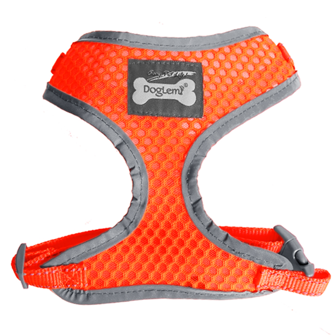 Adjustable Breathable Soft Air Mesh Puppy Dog Harness Walk Collar Vest Orange M