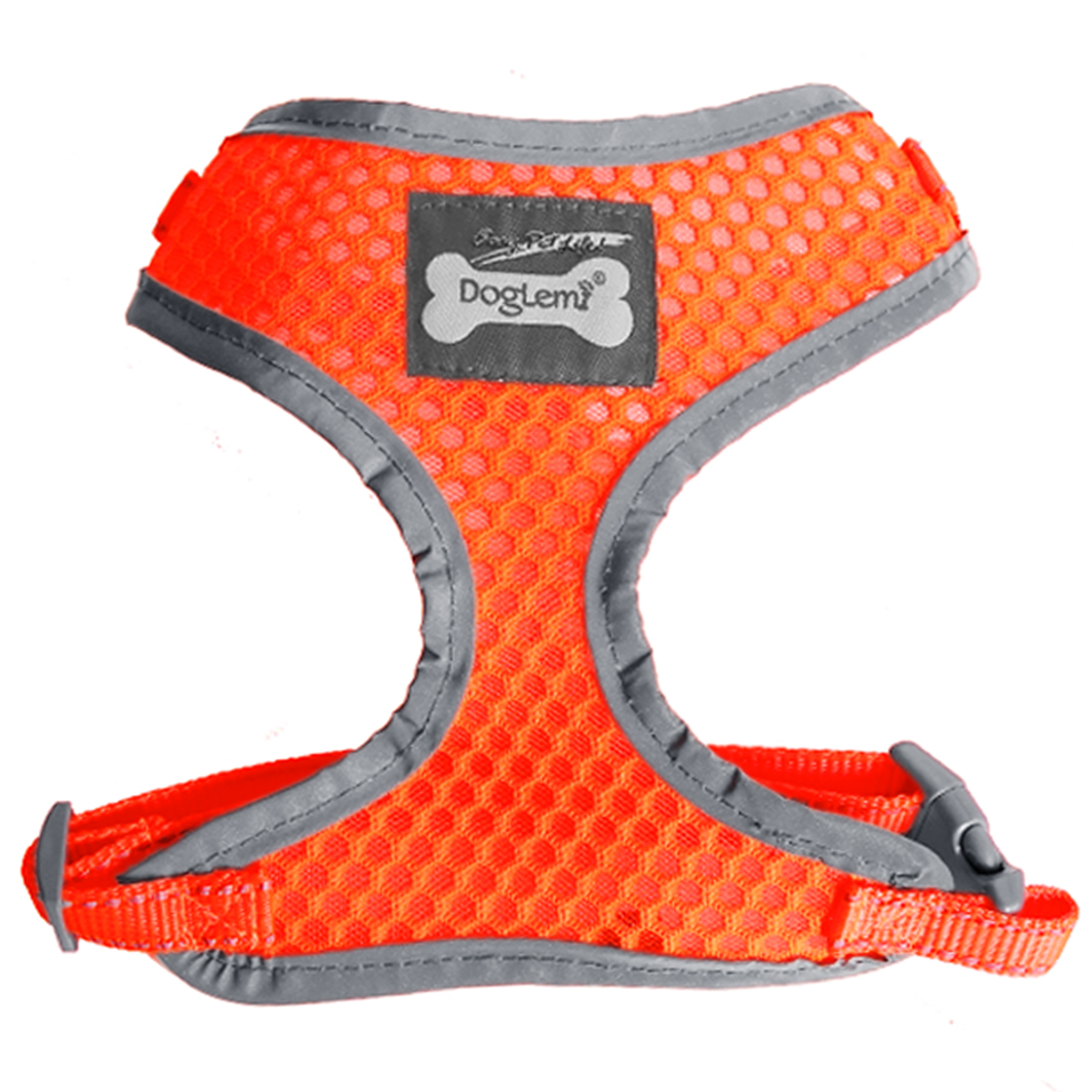 Comfort Control Dog Harness Adjustable Breathable Soft Air Mesh Puppy Harnesses Walk Collar Reflective Vest Orange XL