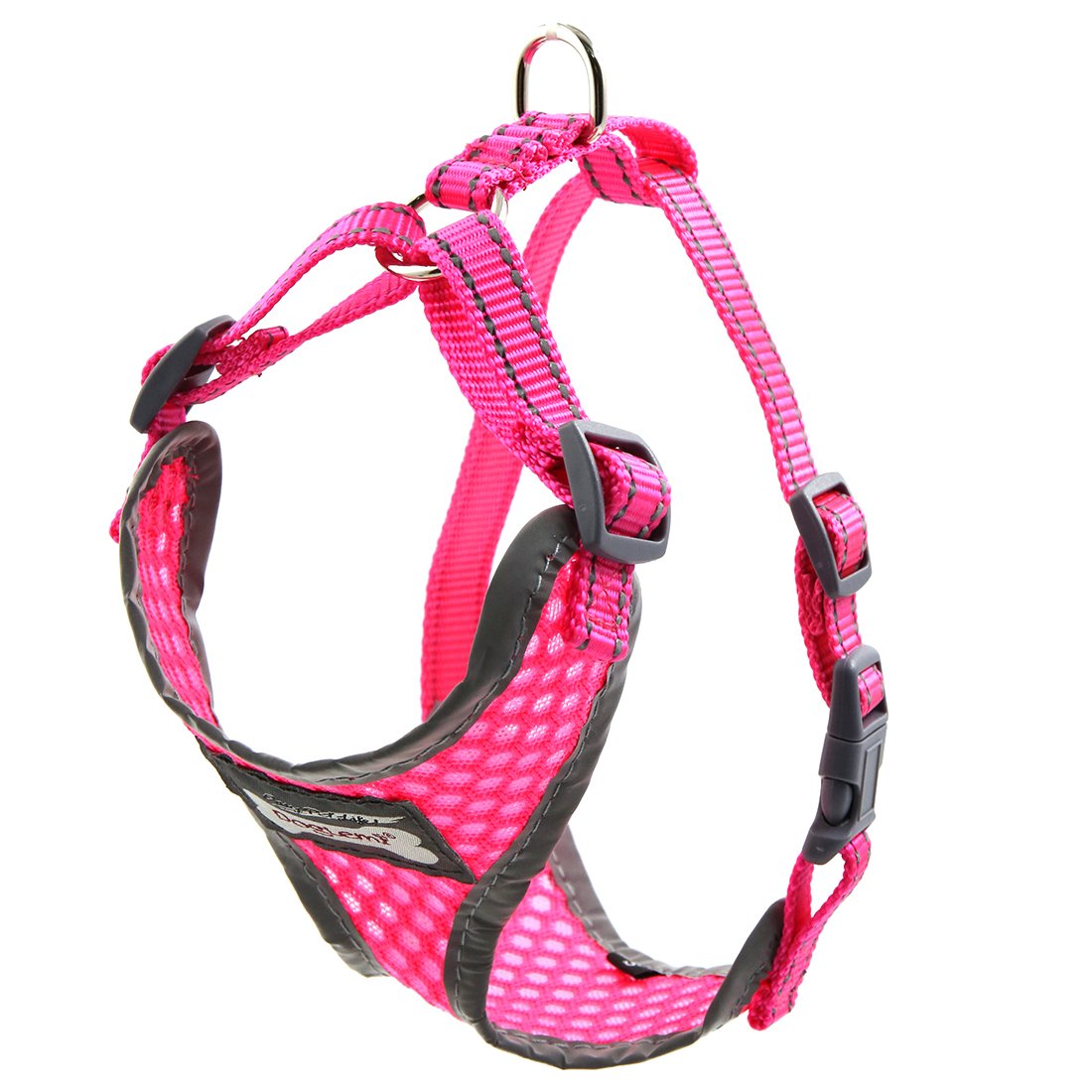 Comfort Control Dog Harness Adjustable Breathable Soft Air Mesh Puppy Harnesses Walk Collar Reflective Vest Fuchsia S